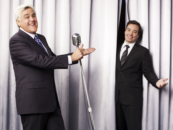 "This undated promotional image released by NBC shows Jay Leno, host of ""The Tonight Show with Jay Leno,"" left, and Jimmy Fallon, host of ""Late Night with Jimmy Fallon,"" in Los Angeles. NBC on Wednesday, April 3, 2013 announced its long-rumored switch in late night, replacing incumbent Jay Leno at ""The Tonight Show"" with Jimmy Fallon and moving the iconic franchise back to New York. Leno will wrap up what will be 22 years of headlining the iconic late-night show in Spring 2014.  ""Saturday Night Live"" producer Lorne Michaels will take over as producer of the new ""Tonight Show."" (AP Photo/NBC, Andrew Eccles)"