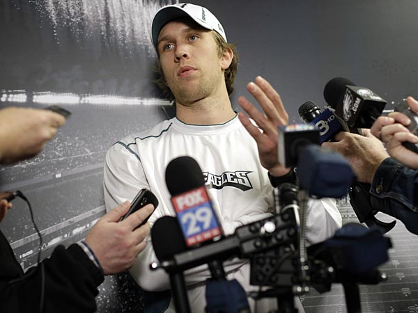 Philadelphia Eagles&acute; Nick Foles speaks during a news conference at the<br />team&acute;s NFL football training facility, Wednesday, April 3, 2013, in<br />Philadelphia. (AP Photo/Matt Rourke)
