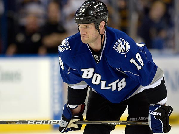 Tampa Bay Lightning´s Adam Hall prior to an NHL hockey game against the Buffalo Sabres in Tampa, Fla., Saturday, Oct. 22, 2011.(AP Photo/Phelan M. Ebenhack)