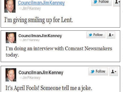 A look at some recent tweets done in Philadelphia Councilman Jim Kenney´s name.