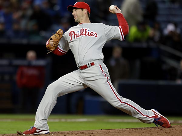 Philadelphia Phillies starting pitcher Cliff Lee throws in the first inning of a baseball game against the Atlanta Braves, Thursday, April 4, 2013, in Atlanta. (AP Photo/David Goldman)<br />