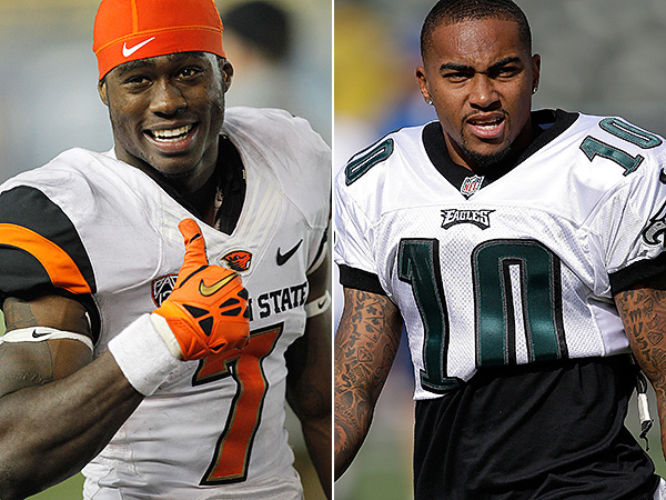 Oregon State wideout Brandin Cooks and former Eagles receiver DeSean Jackson. (AP Photos)