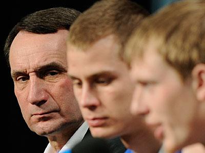Coach Krzyzewski, Kyle Singler, Jon Scheyer, and the Blue Devils will meet Butler in the NCAA finals on Monday night. (AP Photo/Mark J. Terrill)