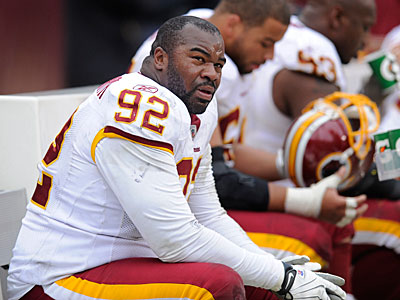 According to sources, DT Albert Haynesworth was a part of trade discussions. (AP Photo / Nick Wass)