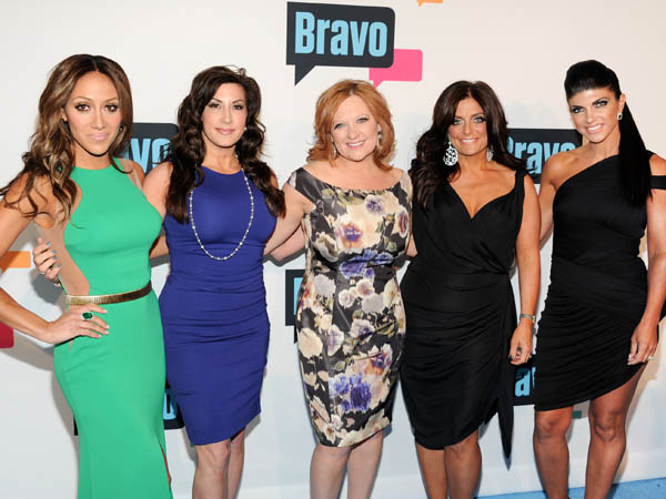 """The Real Housewives of New Jersey"" cast members, from left, Melissa Gorga, Jacqueline Laurita, Caroline Manzo, Kathy Wakile and Teresa Giudice attend the Bravo Network 2013 Upfront on Wednesday April 3, 2013 in New York. (Photo by Evan Agostini/Invision/AP)"