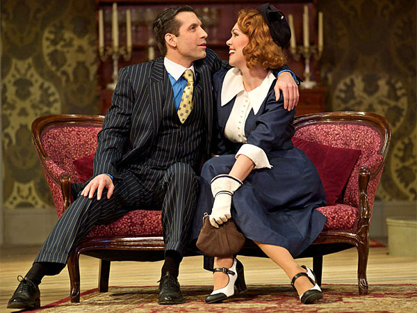"Damon Bonetti and Jennie Eisenhower in ""Arsenic and Old Lace"" at the Walnut Street Theatre. (J. Urdaneta Photography)"