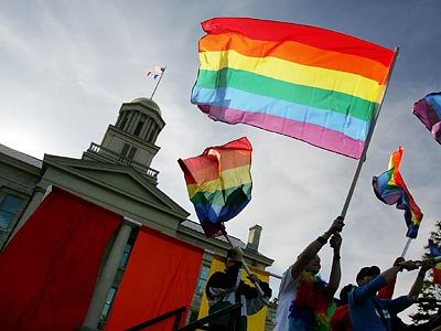 The Iowa Supreme Court´s consideration of a gay marriage bill rallied activists on both sides of the issue. (Liz Martin/AP/The Gazette)