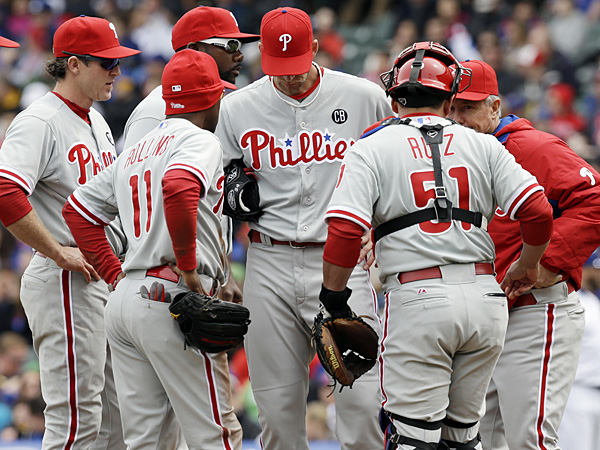 Phillies starting pitcher A.J. Burnett allowed eight runs, seven earned, in 5 2/3 innings against the Cubs in Chicago on Sunday, April 6, 2014. (Nam Y. Huh/AP)