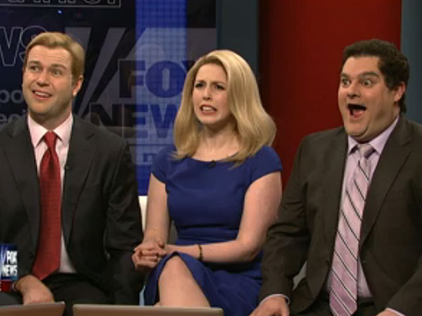 Steve Doocy (Taran Killam), Elizabeth Hasselbeck (Vanessa Bayer) and Brian Kilmeade (Bobby Moynihan). (Screenshot, NBC)
