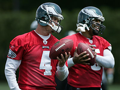 The Eagles have made the transition from Donovan McNabb (5) to Kevin Kolb (4). (Eric Mencher / Staff Photographer)