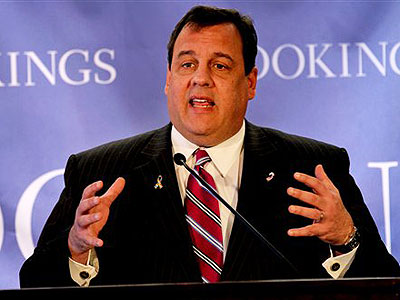 "New Jersey Gov. Chris Christie discusses his education proposals at an event Thursday with the Brookings Institution in New York titled ""2011: The Year of Education Reform"". (AP Photo / Craig Ruttle)"