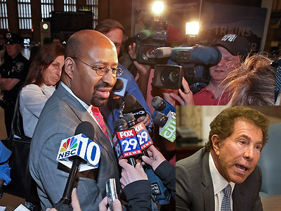 Mayor Nutter addressed the media at 30th Street Station after casino mogul Steve Wynn (inset) pulled out of the Foxwoods project. (Steven M. Falk / Staff Photographer)