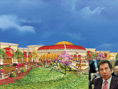 Casino mogul Steve Wynn (inset) presented this artist´s rendering of the Foxwoods casino project to state regulators, only to pull out of the project entirely early this month. Now, he may bid for Foxwoods´ license if it gets revoked.