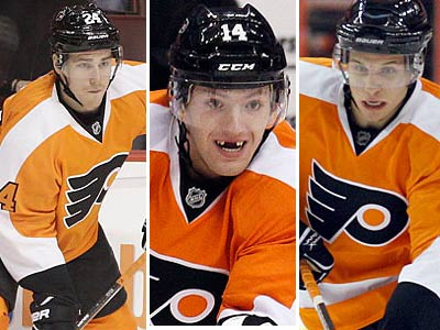 Matt Read, Sean Couturier and Brayden Schenn were all double-figure goal scorers for the Flyers this season. (File photos)