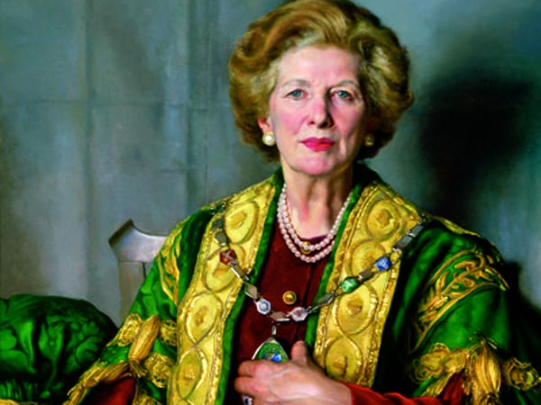Nelson Shanks´ portrait of Margaret Thatcher, commissioned by the College of William and Mary