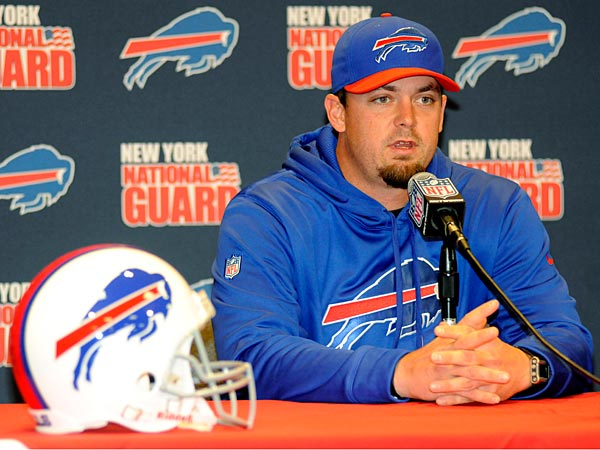 Quarterback Kevin Kolb speaks during a press conference after signing with the Buffalo Bills NFL football team, in Orchard Park, N.Y., Monday, April 8, 2013. (AP Photo/Doug Benz)