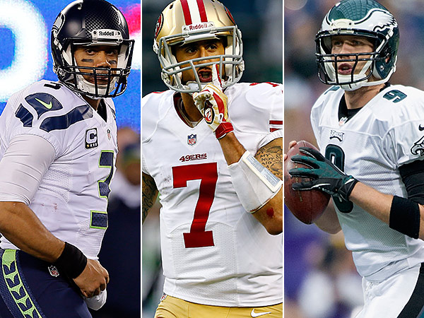 Quarterbacks Russel WIlson, Colin Kaepernick, and Nick Foles. (Getty Images)
