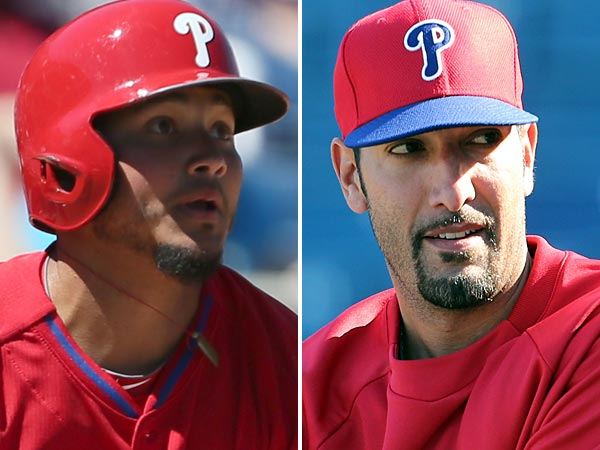 Phillies´ Freddie Galvis and Mike Adams. (Yong Kim/Staff Photographer)