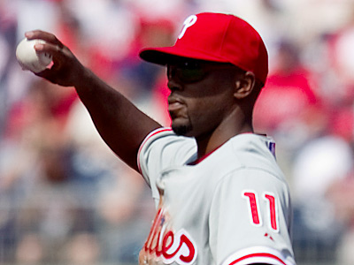 Jimmy Rollins has been placed on the DL with a strained calf. (Evan Vucci/AP)
