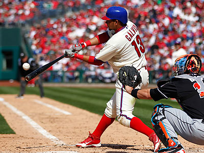 Freddy Galvis´ seventh-inning double drove in the Phillies´ first runs of Monday´s game. (Matt Rourke/AP)