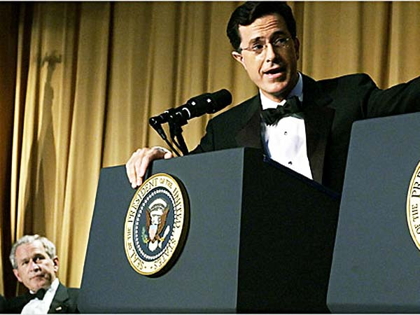 File photo: Stephen Colbert during a performance at the White House Correspondents´ Association Dinner, 29 April 2006.