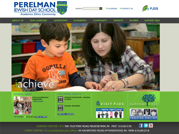 A screen grab from the Perelman Jewish Day School web site, pjds.org.