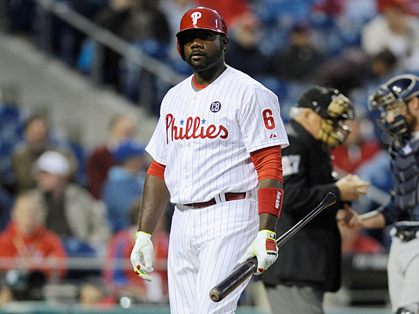 Ryan Howard is seen during an baseball game against the Milwaukee Brewers on Tuesday, April 8, 2014, in Philadelphia. The Brewers won 10-4. (Michael Perez/AP)