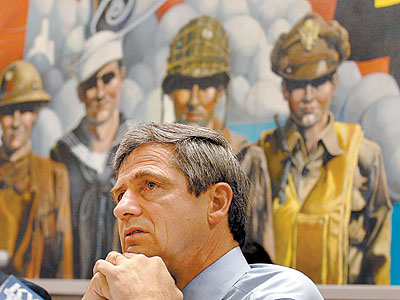 Rep. Joe Sestak in Philadelphia in August. He is challenging Sen. Arlen Specter, now a Democrat. (TOM GRALISH / Staff Photographer)