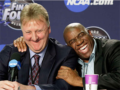 Larry Bird and Magic Johnson had a rivalry that stretched well beyond their playing days. (AP file photo)