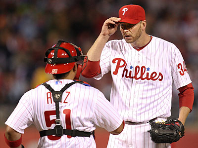 """""""I had a pretty good view from the on-deck circle, and I was glad he got the hit,"""" Roy Halladay said of Freddy Galvis´ two-run double. (Steven M. Falk/Staff Photographer)"""