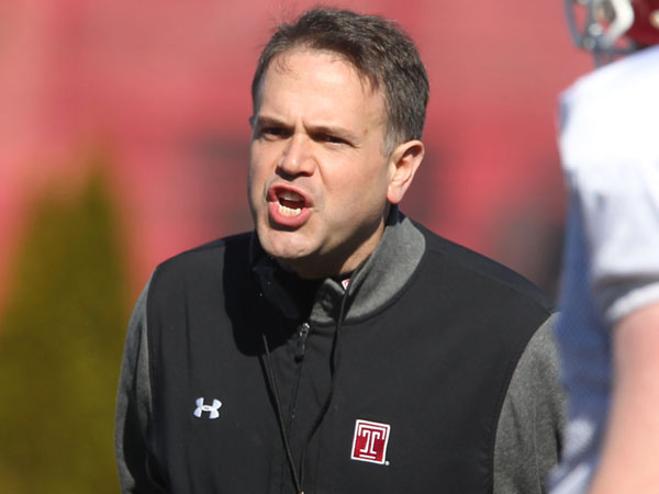 Temple head coach Matt Rhule. (Charles Fox/Staff Photographer)