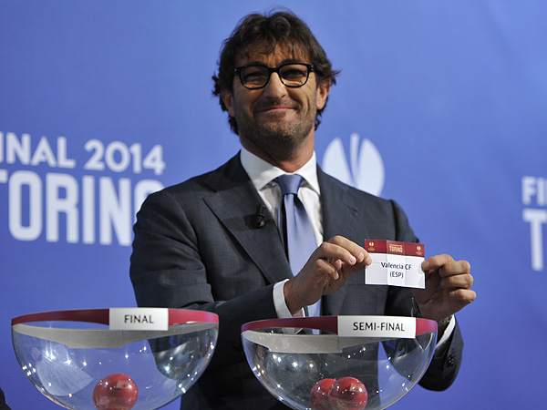 Former Juventus star Ciro Ferrara helped out with the UEFA Europa League Semifinal draw. (Harold Cunningham/Getty Images for UEFA)
