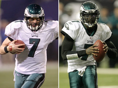 Sources close to Jeff Garcia, left, have acknowledged the possibility of his return to the Eagles. (Yong Kim/David Maialetti/Staff Photos)