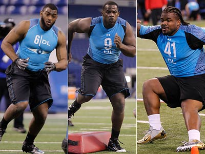 Michael Brockers, Fletcher Cox and Dontari Poe are all potential draft picks for the Eagles. (AP Photos)