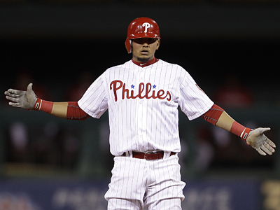 Freddy Galvis reacts after hitting a two-run double in the third inning on Wednesday. (AP Photo/Matt Slocum)