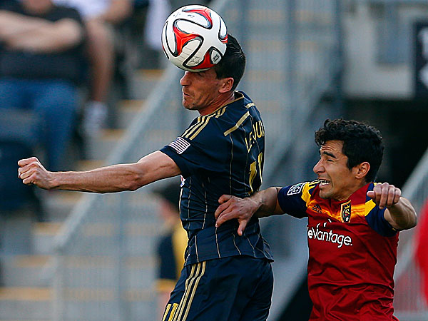 Sebastien Le Toux, left, of France, heads the ball from Real Salt Lake´s Tony Beltran (2) in the first half during an MLS soccer match at PPL Park in Chester, PA., Saturday, April 12, 2014. (Rich Schultz/AP)