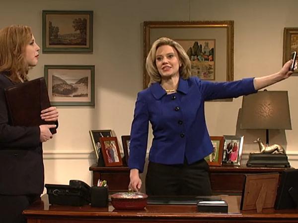 "Kate McKinnon plays Hillary Clinton in a ""Saturday Night Live"" skit. (NBC Screenshot)"