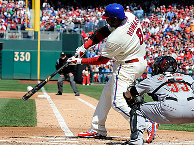 Ryan Howard and the Phillies are batting a major-league best .296 this season.  (Barbara Johnston/AP)
