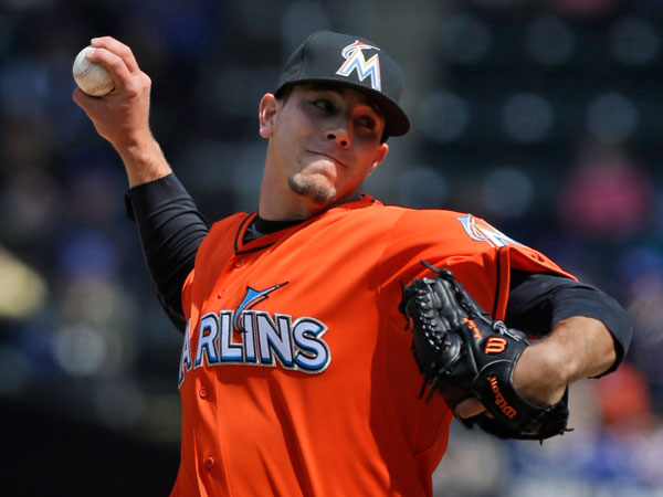 Miami Marlins starting pitcher Jose Fernandez pitches during the first inning of the baseball game against the New York Mets at CitiField Sunday, April 7, 2013 in New York. (Seth Wenig/AP)