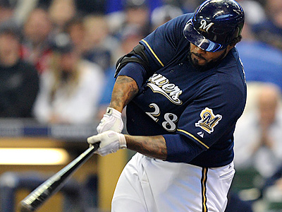 Prince Fielder and the Brewers went on a 14-4 surge that puts them five games behind the Phillies. (Jim Prisching/AP)