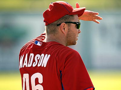 Phillies reliever Ryan Madson was unavailable Thursday night because of soreness. (David Maialetti/Staff Photographer)