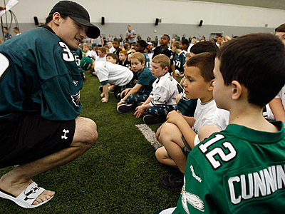 Colt Anderson talks during the Eagles 6th annual Kids Club Junior Combine at NovaCare Complex. (David Maialetti/Staff Photographer)