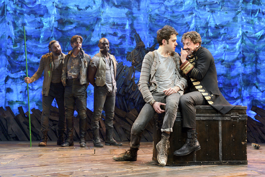 In this theater image released by The O &amp; M Co., from left,  Matt<br />D&acute;Amico, Rick Holmes, Isaiah Johnson, Adam Chanler-Berat, and<br />Christian Borle are shown in a scene from &quot;Peter and the Starcatcher,&quot; performing at the brooks Atkinson Theatre in New York. (AP Photo/The O &amp; M Co.)