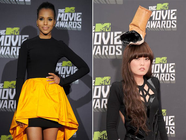Kerry Washington, left, and Hana Mae Lee, right. Oh, the disparities at the 2013 MTV Movie Awards. (AP Photos)