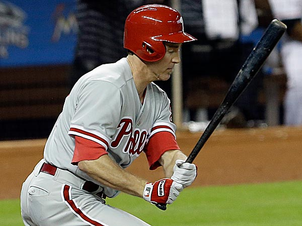 Chase Utley´s clutch pinch-hit home run in the eighth inning Monday night was the fifth of his career, but his first since 2005. (Alan Diaz/AP)