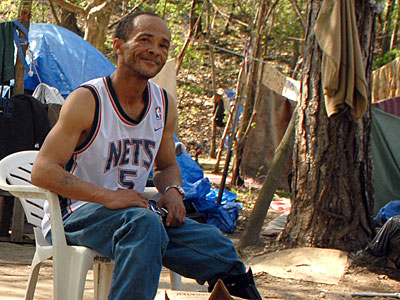 "Lorenzo ""Jamaica"" Banks, the ""mayor"" of Camden´s Tent City, in the make-shift compound. (Tom Gralish / Staff Photographer)"