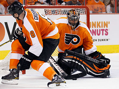 """""""The only thing I fear is bears - bears in the forest,"""" Flyers goalie Ilya Bryzgalov said when asked if he fears the Pens. (Yong Kim/Staff Photographer)"""