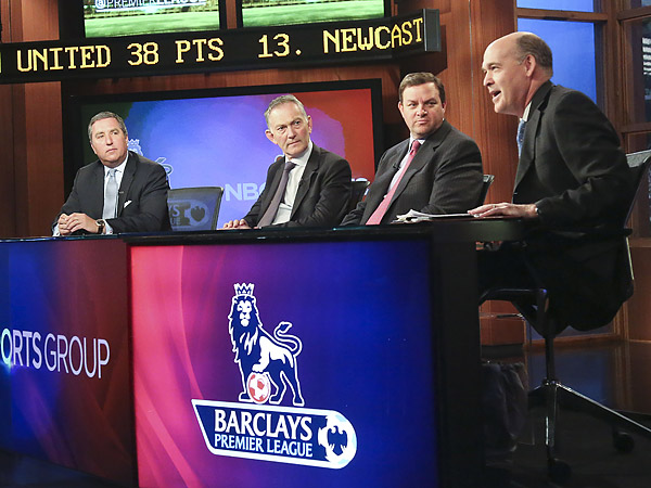 From left to right: NBC Sports president of programming Jon Miller, Premier League CEO Richard Scudamore, NBC Sports Group chairman Mark Lazarus and NBC Sports executive producer Sam Flood. (Bebeto Matthews/AP)<br />