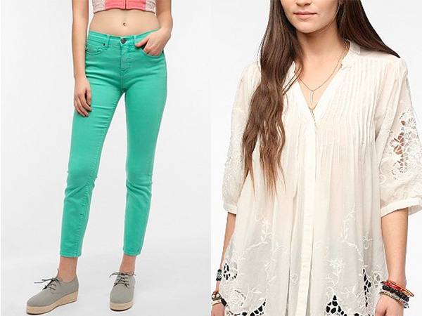 Spring transition picks include colored denim and sheer blouses. (Courtesy of Urban Outfitters)