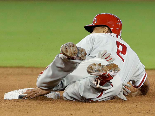 Phillies centerfielder Ben Revere ranks near the bottom of the league when it comes to on-base percentage. (AP Photo/Alan Diaz)